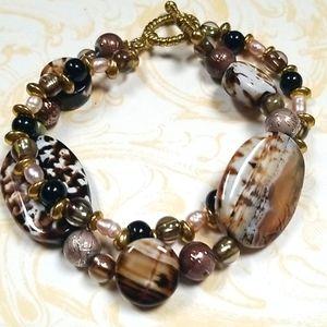 NWT Natural Stone FW Pearl Multi Strand Bracelet